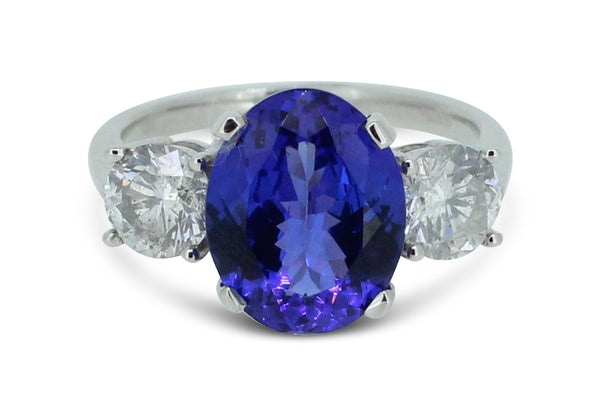 Tanzanite and Diamond Three Stone Ring 1.03ct + 3.86ct Tanzanite Platinum