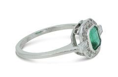 Art Deco Emerald and Diamond Cluster Ring 0.25ct + 0.80ct Platinum