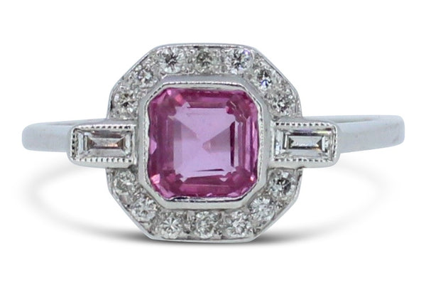 Art Deco Pink Sapphire and Diamond Cluster Ring 0.25ct + 1.0ct Pink Sapphire Platinum
