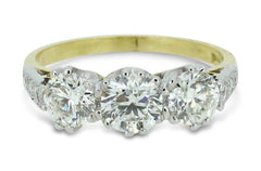 Fabulous Diamond Three Stone Ring 1.80ct 18ct YG