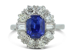 Art Deco Sapphire and Diamond Cluster Ring 1.35 ct + 2.30 18ct Platinum
