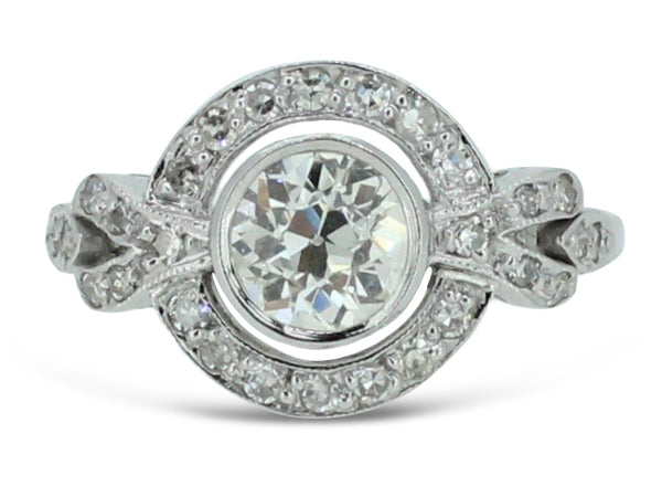 Art Deco Style Diamond Cluster Ring Platinum 1.15ct