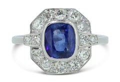 Art Deco Sapphire and Diamond Cluster Ring 0.65ct + 1.35ct Platinum