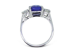 Stunning 3.13ct Tanzanite and 0.67ct Diamond Three Stone Ring 18ct White Gold