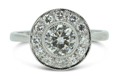 Vintage 18ct White Gold 1.45ct Art Deco Transitional and Old Cut Diamond Solitaire Target Ring