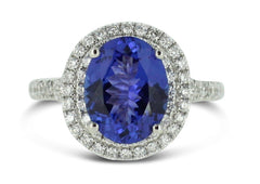 Tanzanite and Diamond Cluster Halo Ring 0.59ct + 2.47ct 18ct White Gold