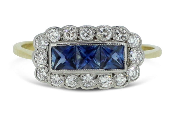 Sapphire and Diamond Cluster Ring 0.30ct + 0.55ct 18ct Yellow Gold
