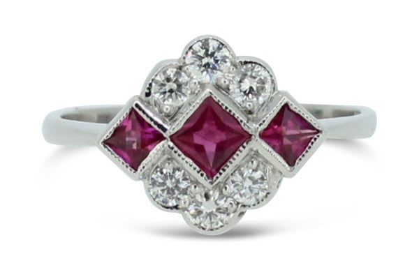 Art Deco Ruby and Diamond Cluster Ring 18ct White Gold