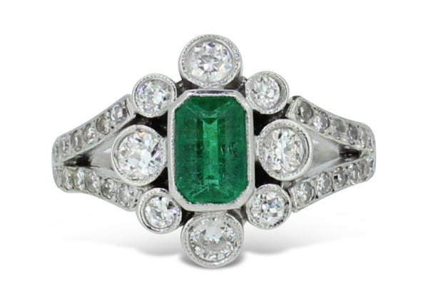 Vintage Emerald and Old Cut Diamond Cluster Ring 0.65ct + 0.75ct 18CT White Gold