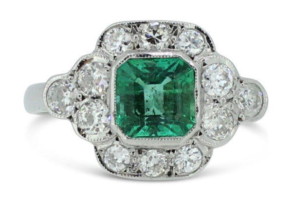 Vintage Emerald and Old Cut Diamond Cluster Ring 1.10ct + 0.60ct Platinum