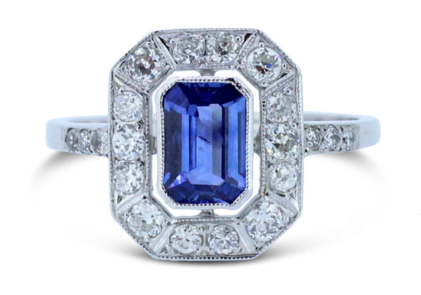Art Deco Sapphire and Old Cut Diamond Cluster Ring Platinum 1.0ct + 0.50ct