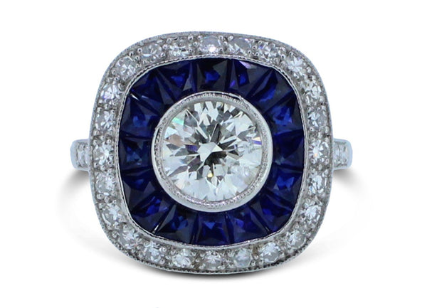 Art Deco French Cut Sapphire and Diamond Cluster Ring 18ct White Gold 1.77ct
