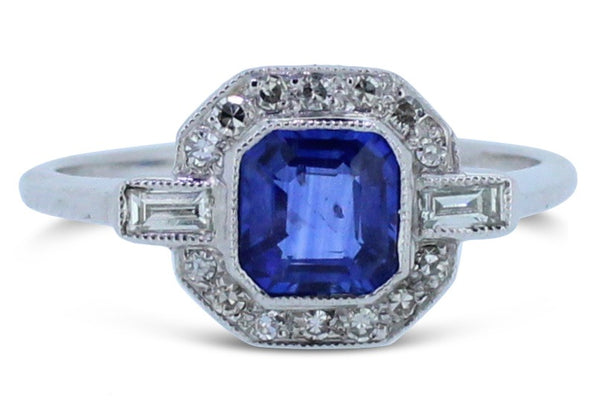 Art Deco Sapphire and Diamond Cluster Ring 0.30ct + 1.0ct Sapphire 18ct Platinum