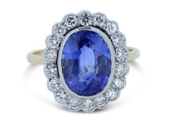 Sapphire and Diamond Old Cut Diamond Cluster Ring 18ct Yellow Gold 3.47ct + 0.55ct
