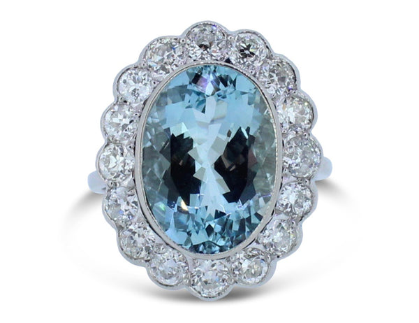 Aquamarine and Old Cut Diamond Oval Cluster Ring 6.0ct + 1.50ct 18CT White Gold