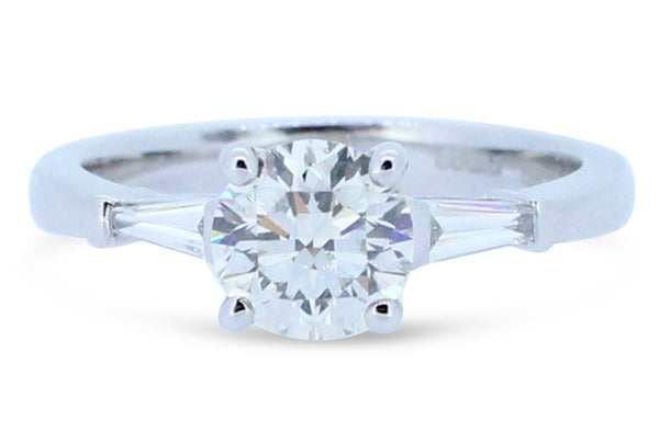 1.13ct Brilliant Round Diamond Solitaire and Tapered Baguettes Ring 18ct White Gold
