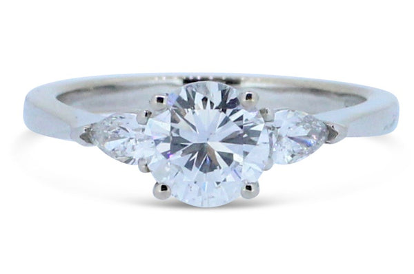 1.275ct Brilliant Round Cut Diamond Solitaire with Pear Cut Diamond Ring 18ct White Gold