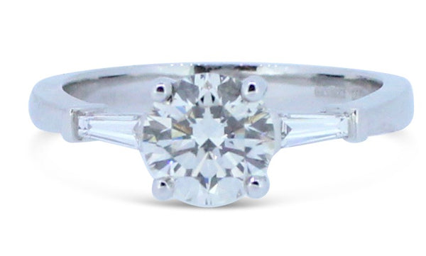 1.15ct Brilliant Round Diamond Solitaire and Tapered Baguettes Ring 18ct White Gold