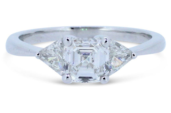 1.405ct Asscher Cut Diamond Solitaire with Trillian Cut Diamond Ring 18ct White Gold