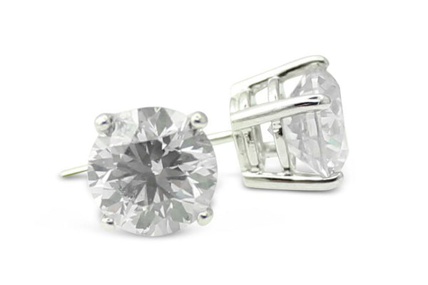 3.13ct Diamond Stud Earrings 4 Claw 18ct White Gold