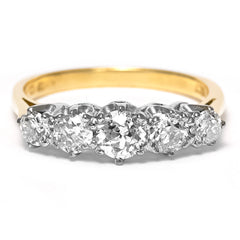 Five Stone Diamond Ring 1.35ct 18ct Yellow Gold
