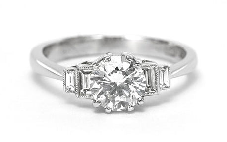 Art Deco Old Brilliant Cut Diamond Solitaire Engagement Ring 1.16ct Platinum