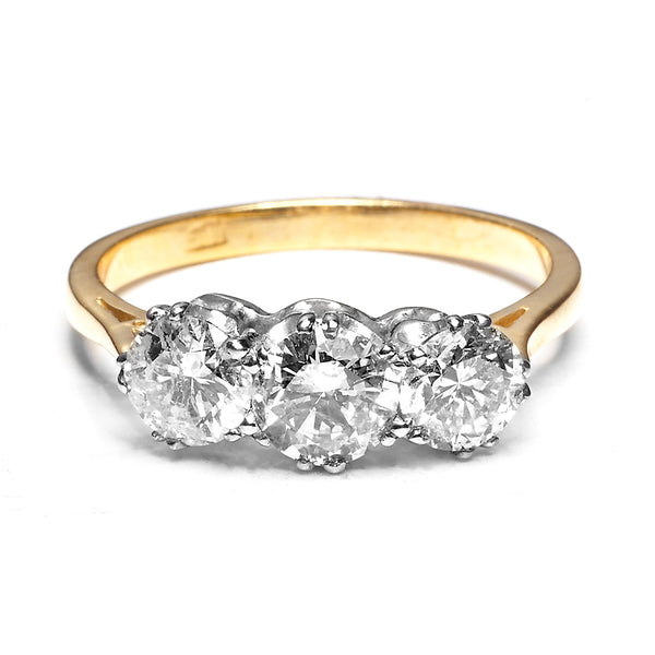 Three Stone Brilliant Cut Diamond Ring 1.67ct 18ct Yellow Gold