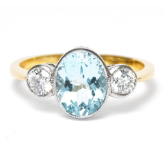Aquamarine and Diamond Three Stone Ring 0.40ct + 1.40ct 18ct Yellow Gold