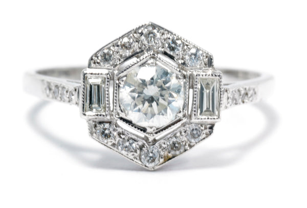 Art Deco Style Diamond Ring 0.90ct Platinum