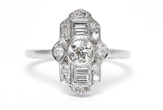 Art Deco Diamond Ring 0.85ct 18ct White Gold