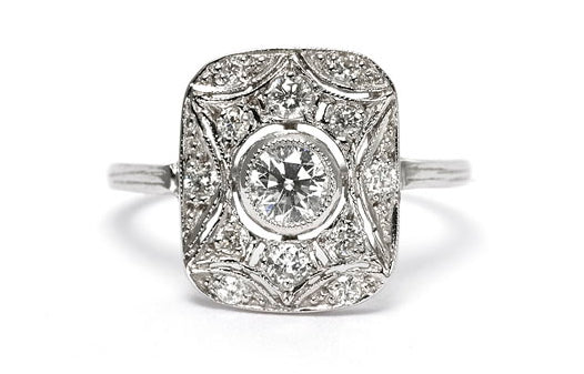 Art Deco Diamond Ring 0.80ct Platinum