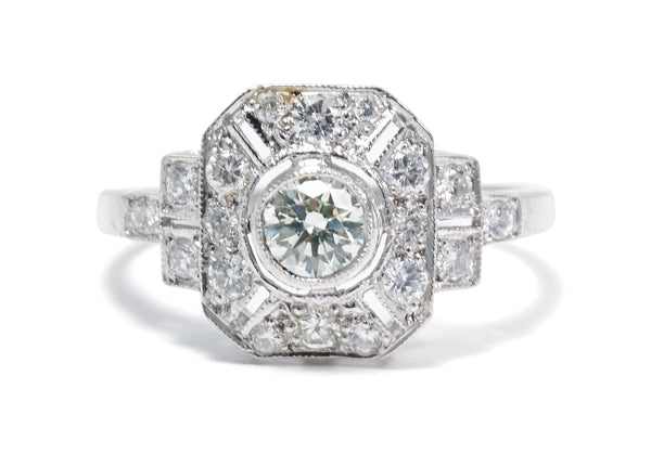 Art Deco Old Cut Diamond Ring 0.80ct Platinum