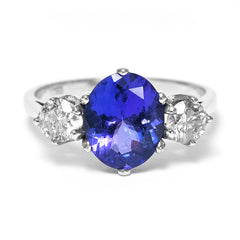 Tanzanite and Diamond Three Stone Ring 0.65ct Diamond + 2.80ct Tanzanite Platinum