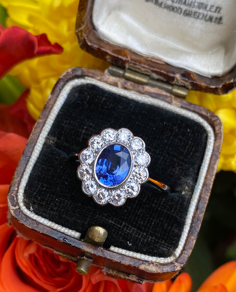 Sapphire and Diamond Cluster Platinum Ring 0.75ct + 1.40ct