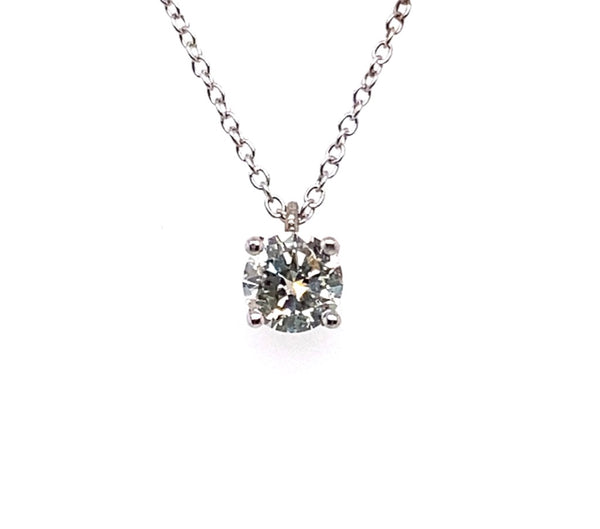 18ct White Gold Diamond Solitaire 4 Claw Set Pendant 0.52ct