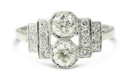 Art Deco Diamond Ring 0.90ct 18Carat White Gold