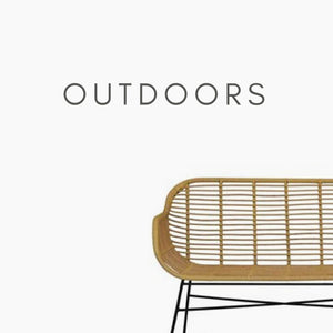 "Corner of the bamboo bench with text ""Outdoors"""