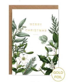 Greenery border white Christmas card