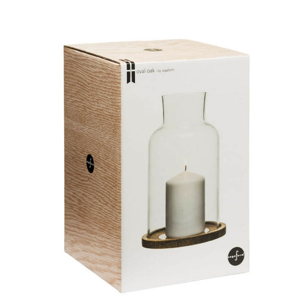 Oak lantern with candle in box