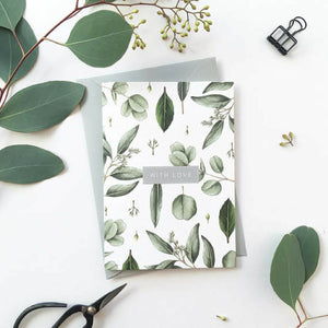 "Botanical greeting card ""with love"""