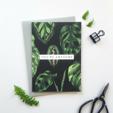 "Botanical greeting card ""you're awesome"""