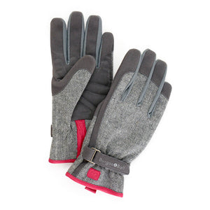 Grey tweed gardening gloves