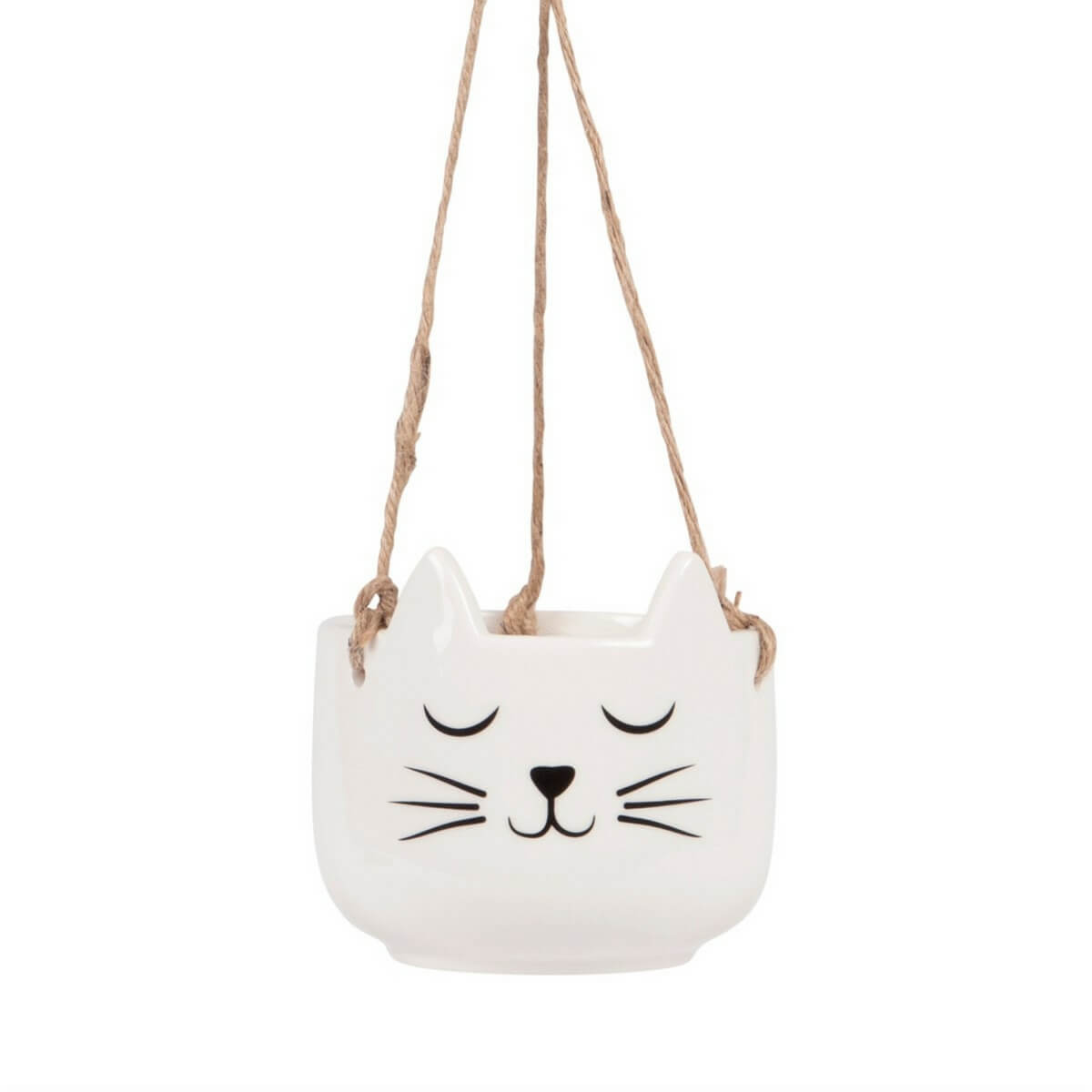 Hanging kitty cat planter