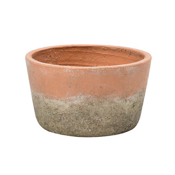 Cutout image of the low aged terracotta pot