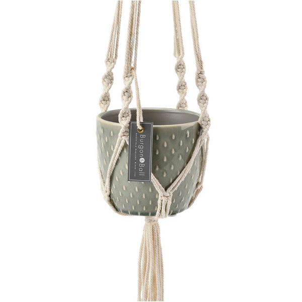 Macrame hanging planter detail