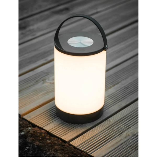 Rechargeable LED lantern on decking