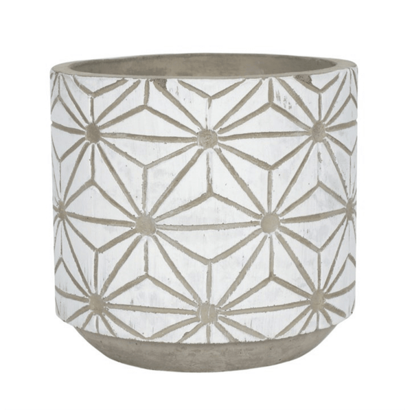 White and concrete geometric planter