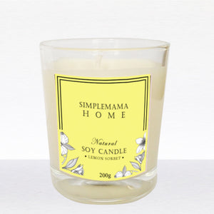 SimpleMamaHome - Natural Soy Candle 200g - Lemon Sorbet