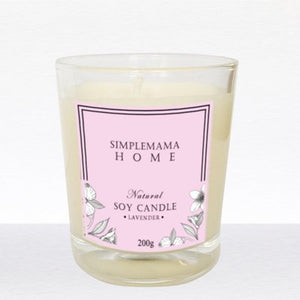SimpleMamaHome - Natural Soy Candle 200g - Lavender
