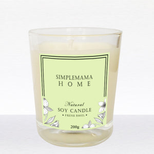 SimpleMamaHome - Natural Soy Candle 200g -Fresh Basil